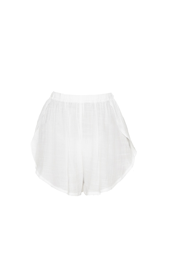 White Linen Look Side Split Beach Shorts 6