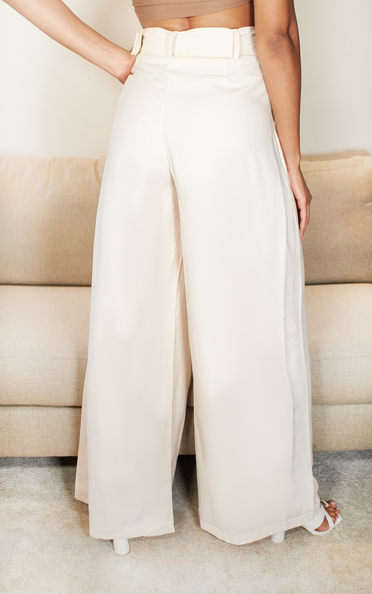 Cream Belted Extreme Wide Leg Pants 3