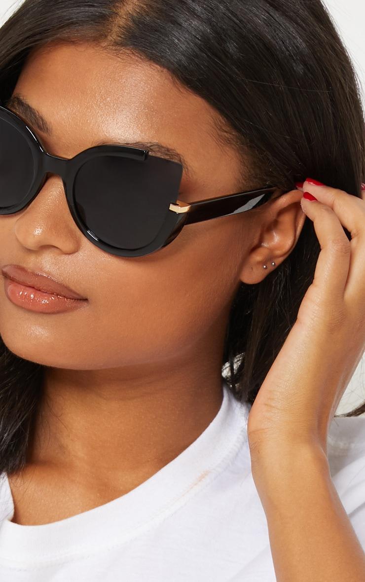 Black Large Cat Eye Sunglasses 2