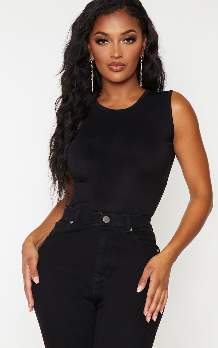 Shape Black Jersey Sleeveless Bodysuit 1