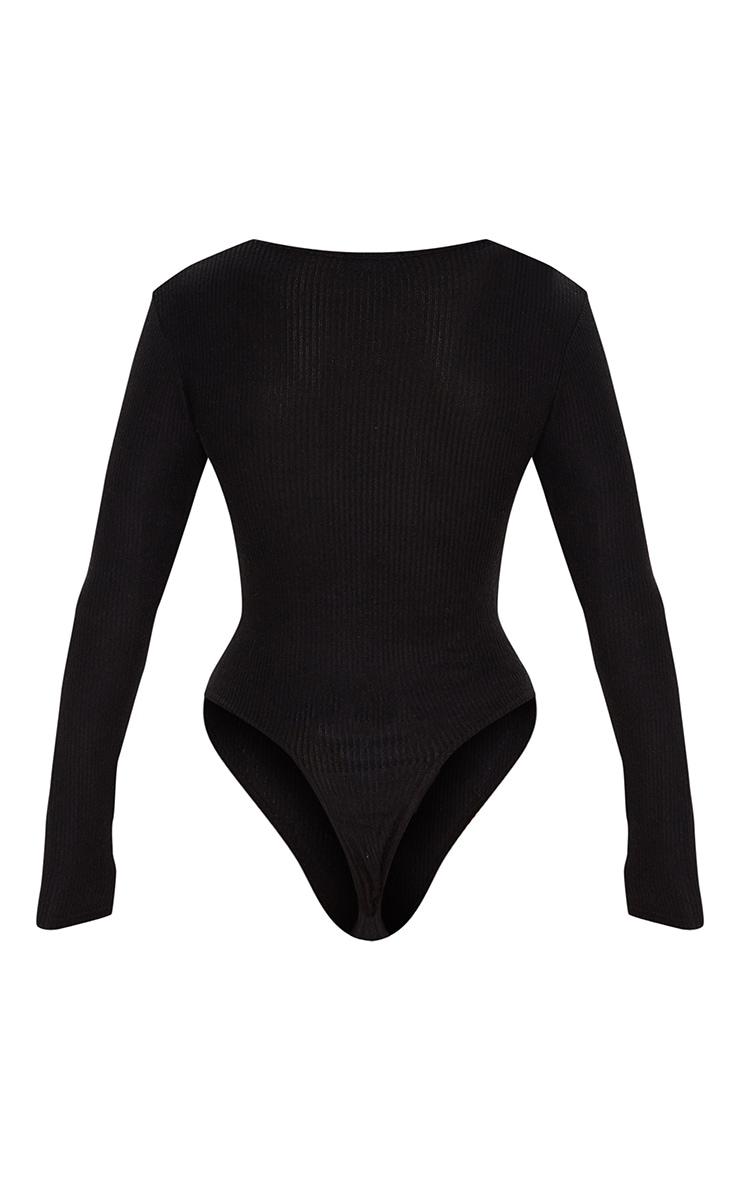 Black Brushed Rib Crew Neck Long Sleeve Bodysuit 4
