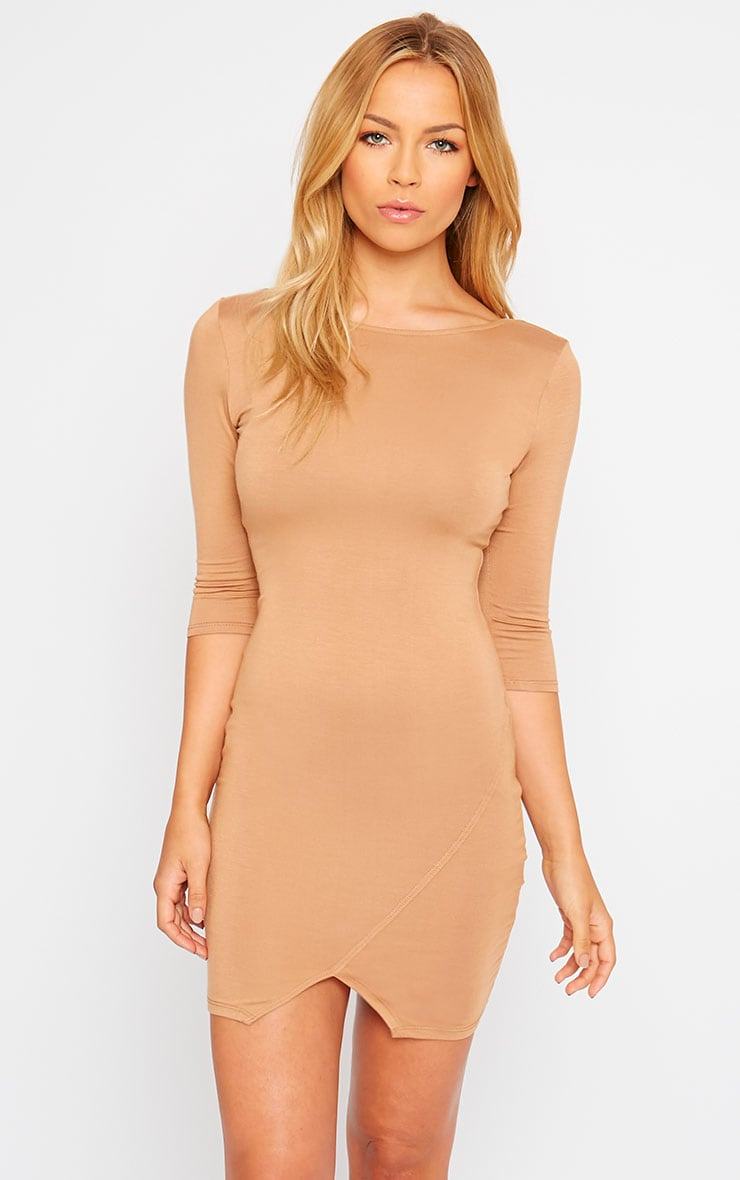Basic Camel Scoop Back V Hem Dress 1