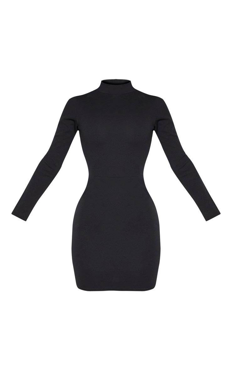 Black Long Sleeve High Neck Cut Out Bodycon Dress 3