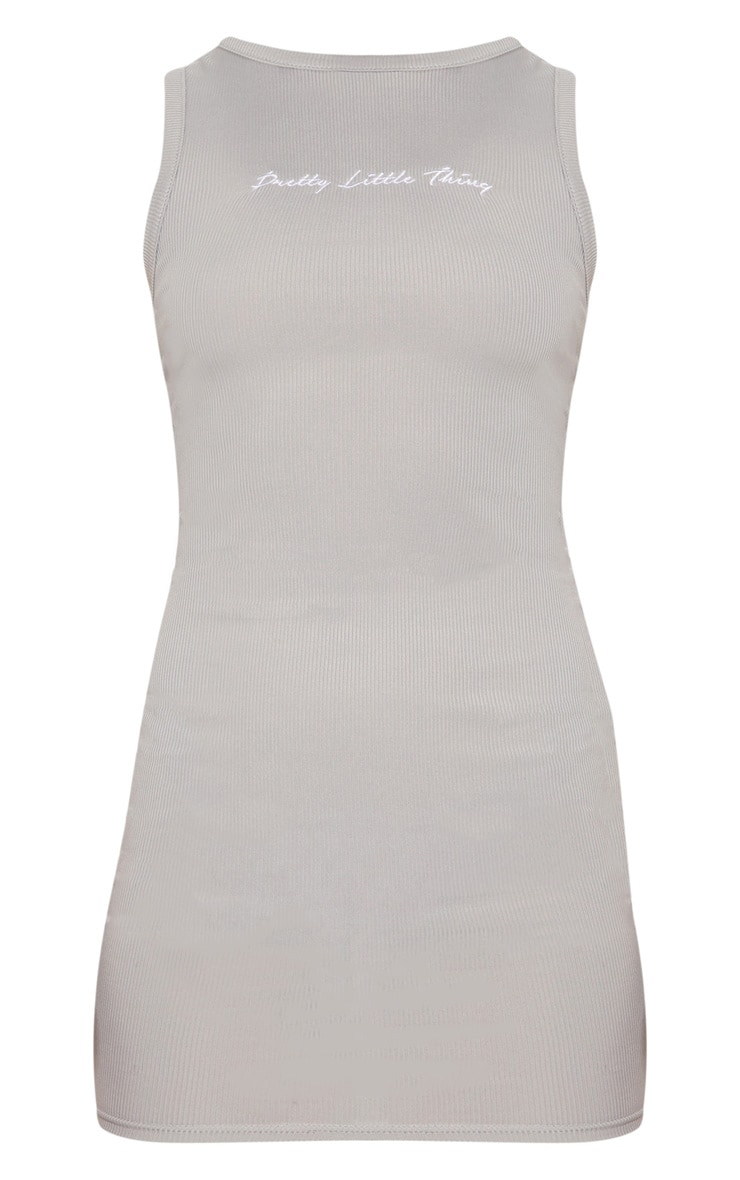 PRETTYLITTLETHING Grey Embroidered Sleeveless Bodycon Dress 3