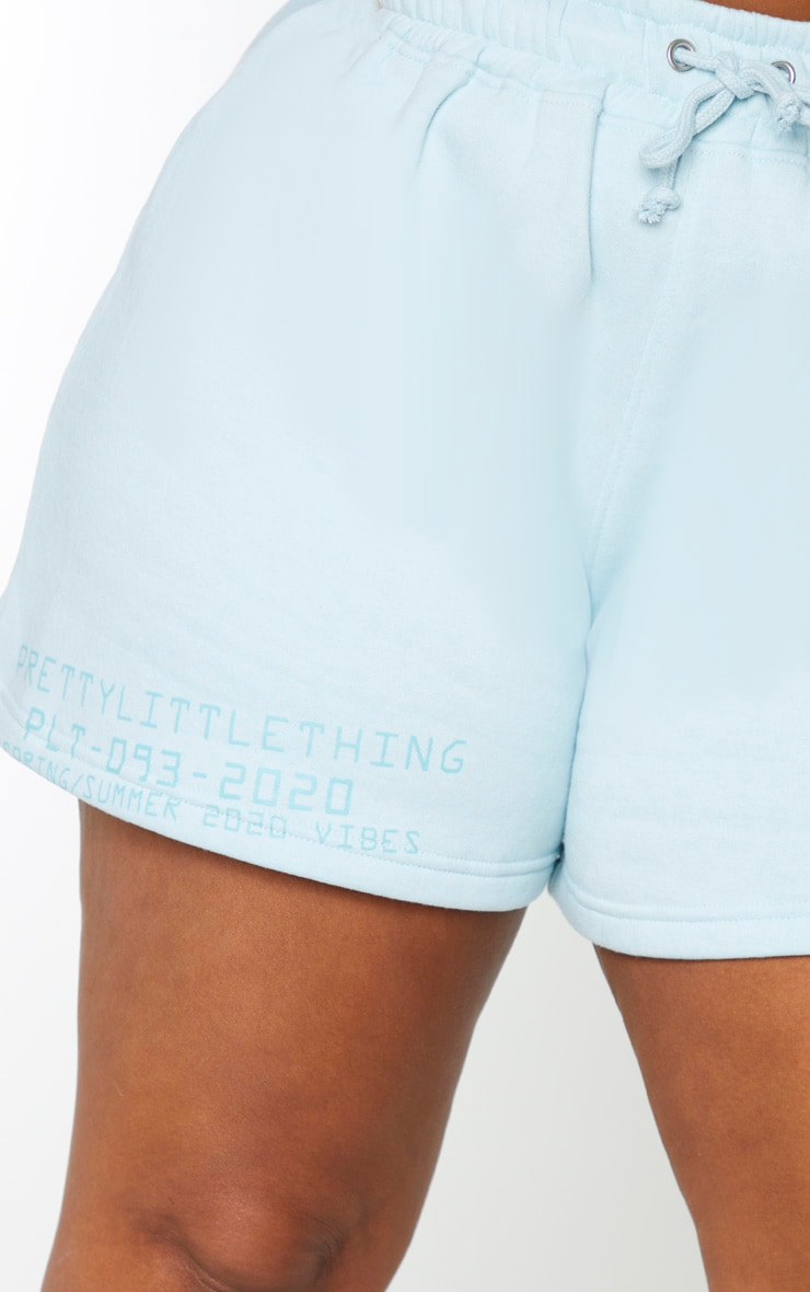 PRETTYLITTLETHING Plus Dusty Blue Sweat Shorts 5