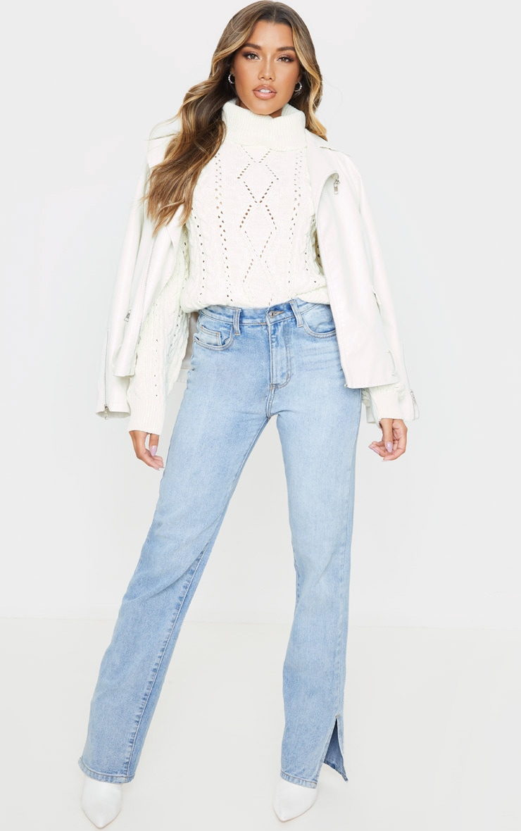 Cream Cut Out Detail Roll Neck Sweater 1