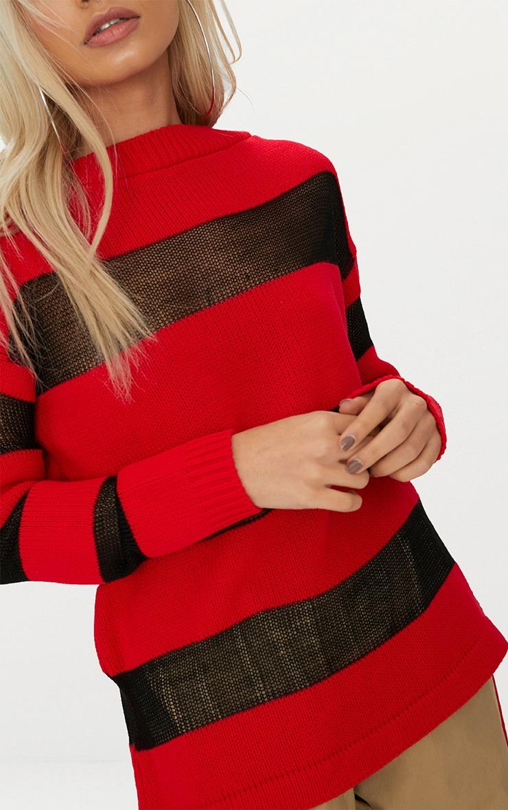 Red Sheer Stripe Jumper 5
