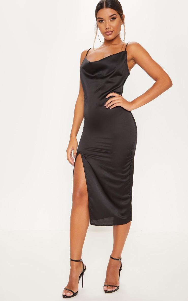 Black Strappy Satin Cowl Midi Dress 1