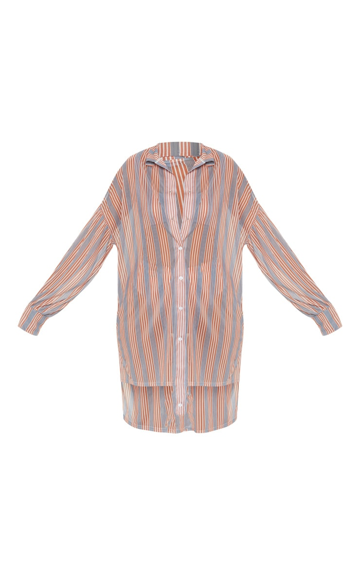Brown Double Stripe Long Beach Shirt 4