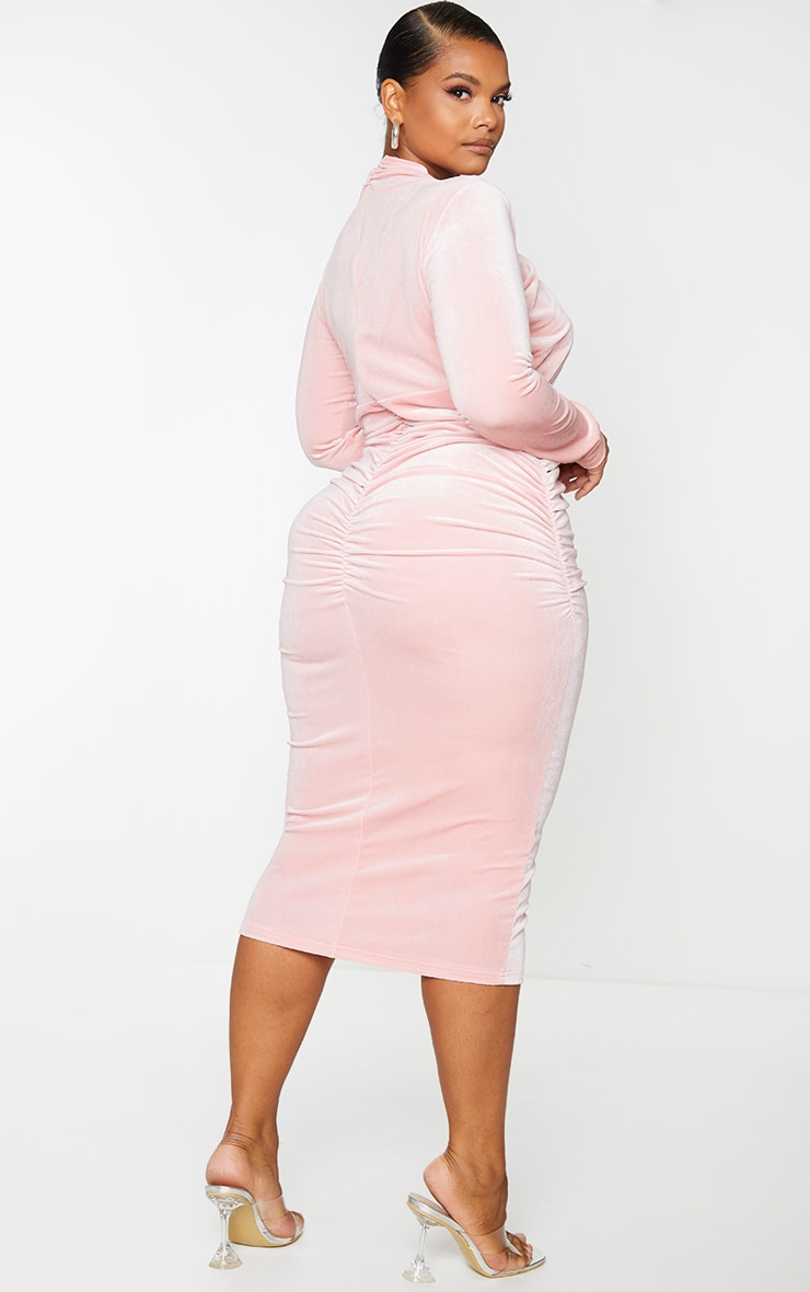Plus Dusty Pink Velvet Cut Out High Neck Midi Dress 2