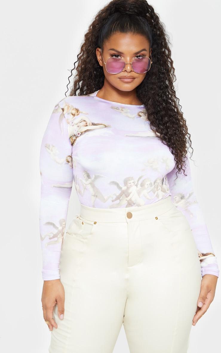 Plus Lilac Renaissance Long Sleeve Bodysuit  1