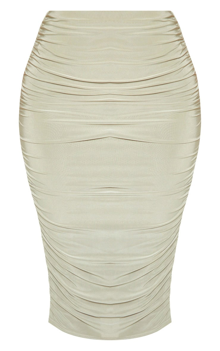 Sage Green Slinky Second Skin Ruched Midi Skirt 3