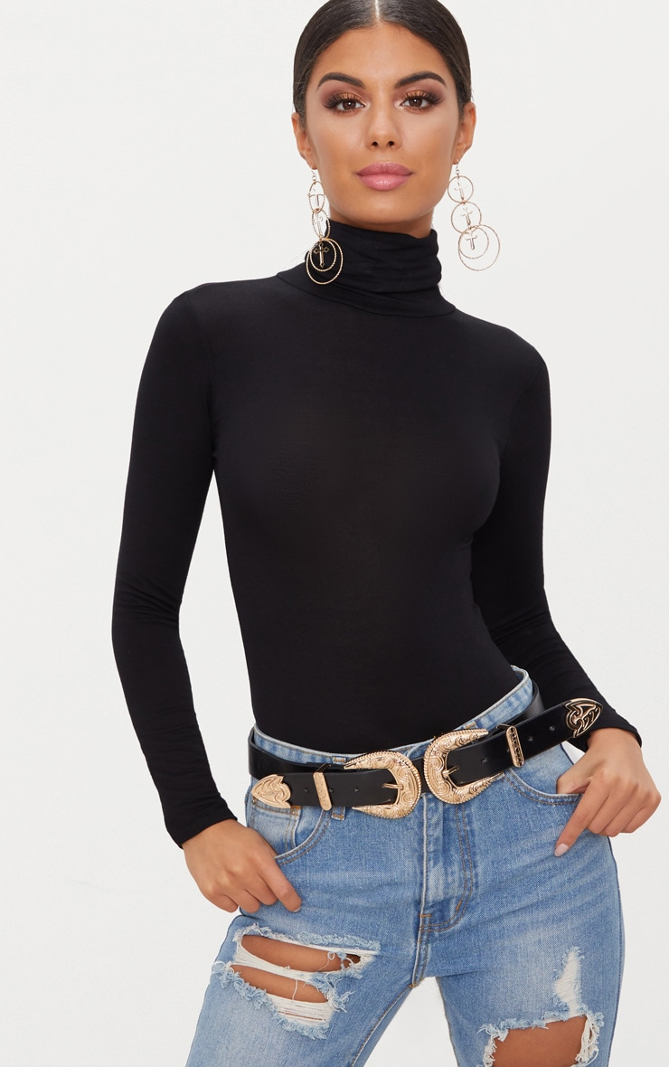 Black Roll Neck Long Sleeve Bodysuit 1