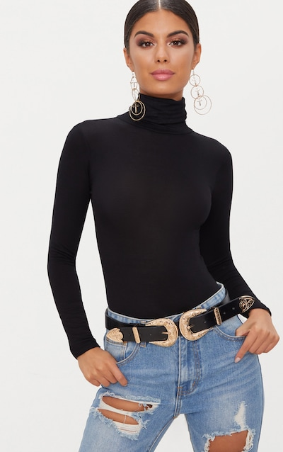 Black Roll Neck Long Sleeve Bodysuit 94c40b37f