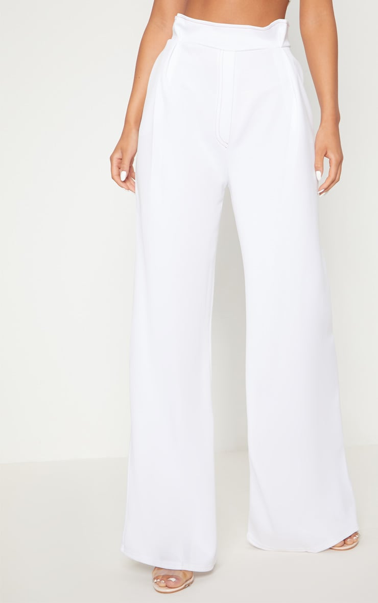 White Contrast Stitch Paper Bag Wide Leg Trouser 2