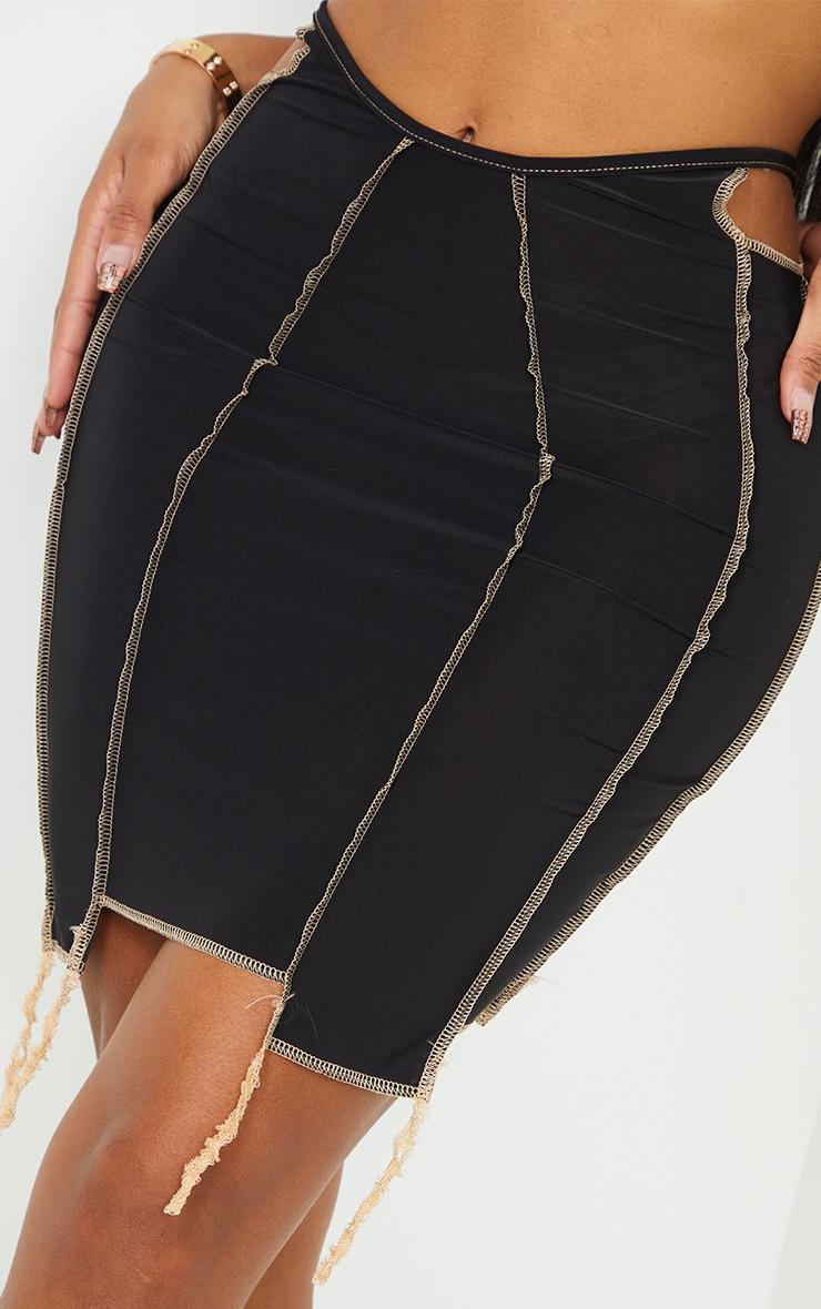 Shape Black Slinky Overlock Cut Out Detail Bodycon Skirt 5