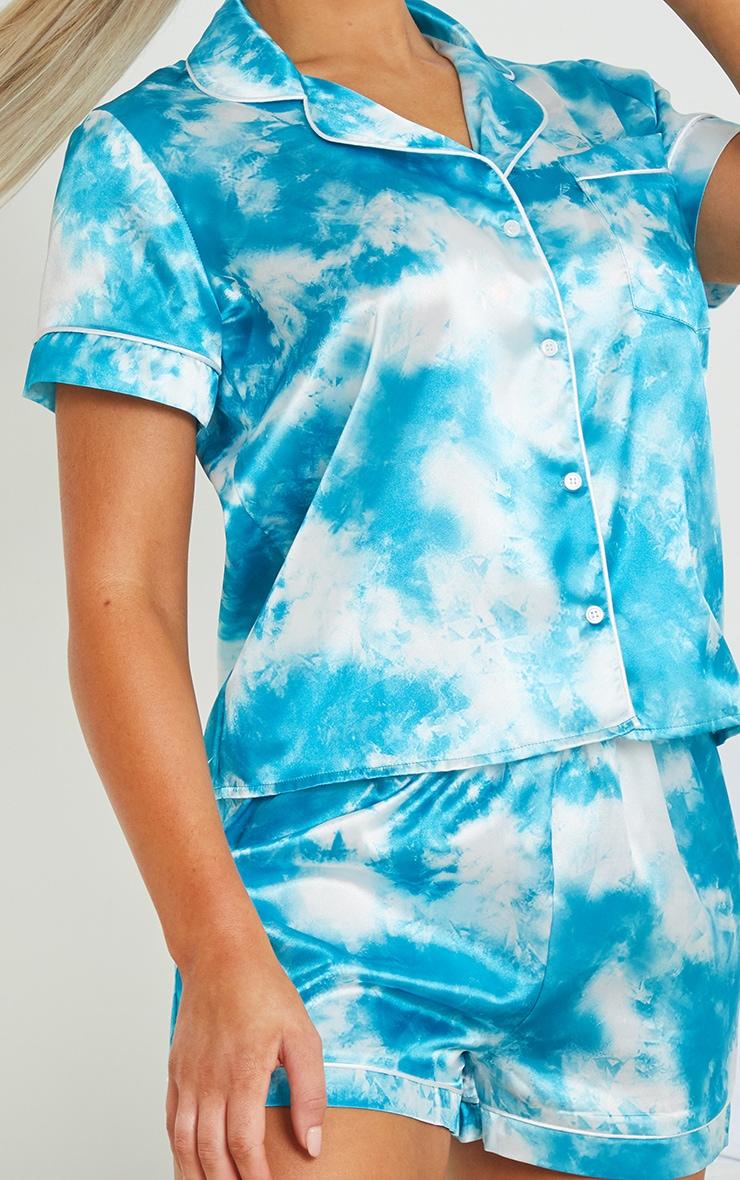 Blue Tie Dye Satin Short PJ Set 4