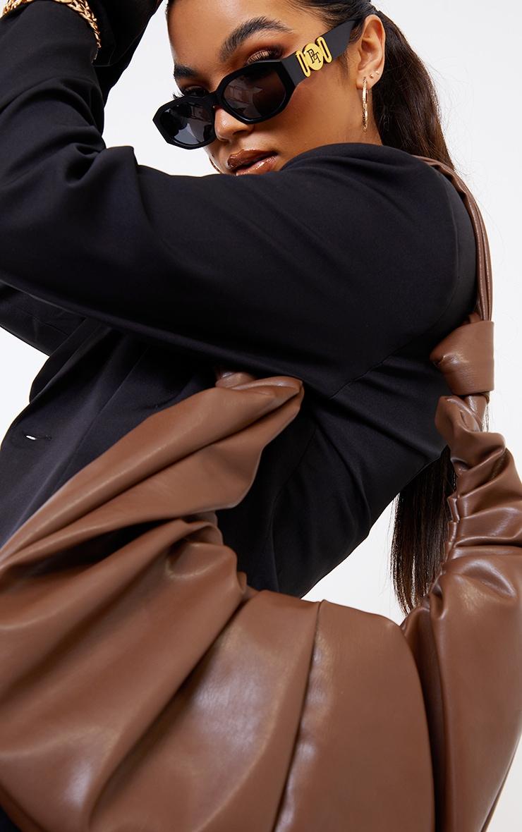 Chocolate Large Ruched Shoulder Bag 2