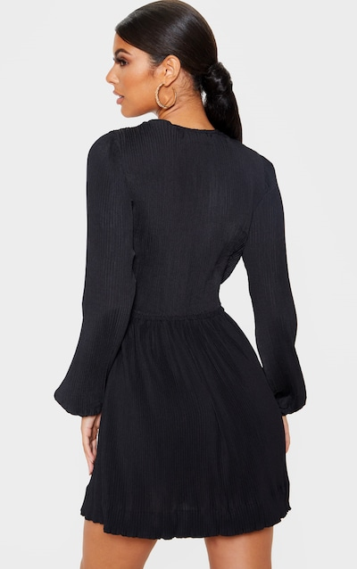 Black Pleated Plunge Long Sleeve Skater Dress