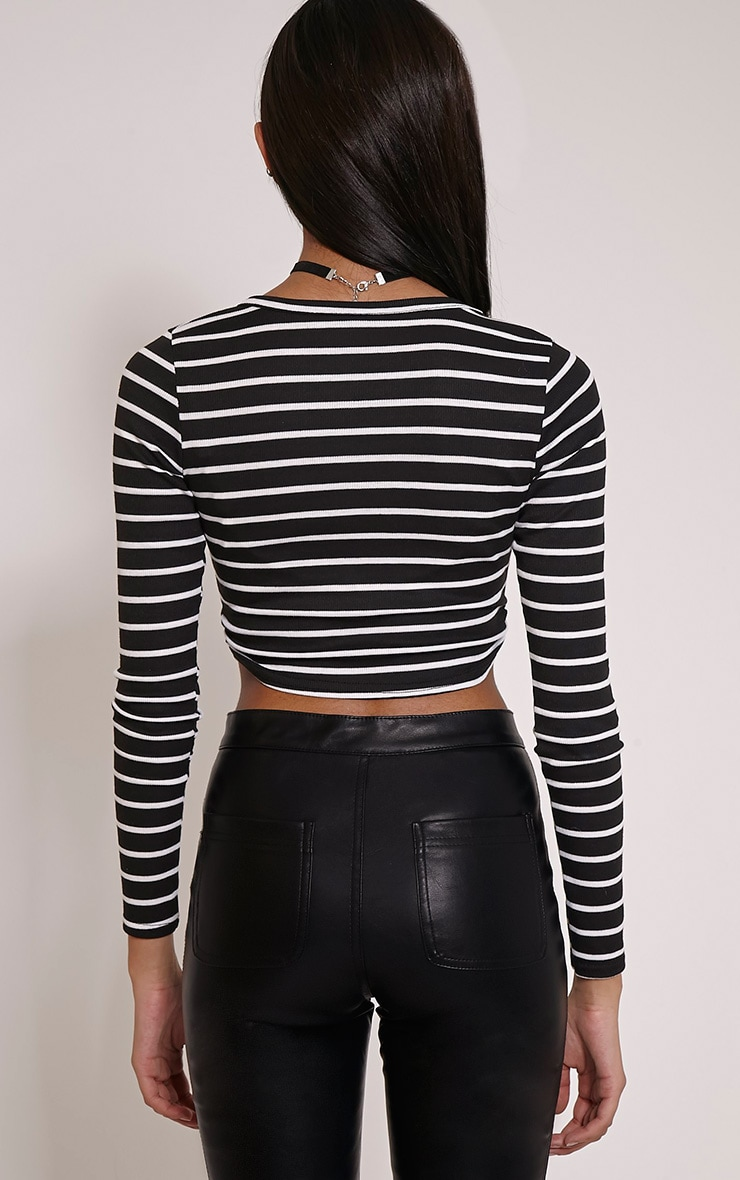 Daisy Black Striped V Neck Long Sleeve Crop Top 2