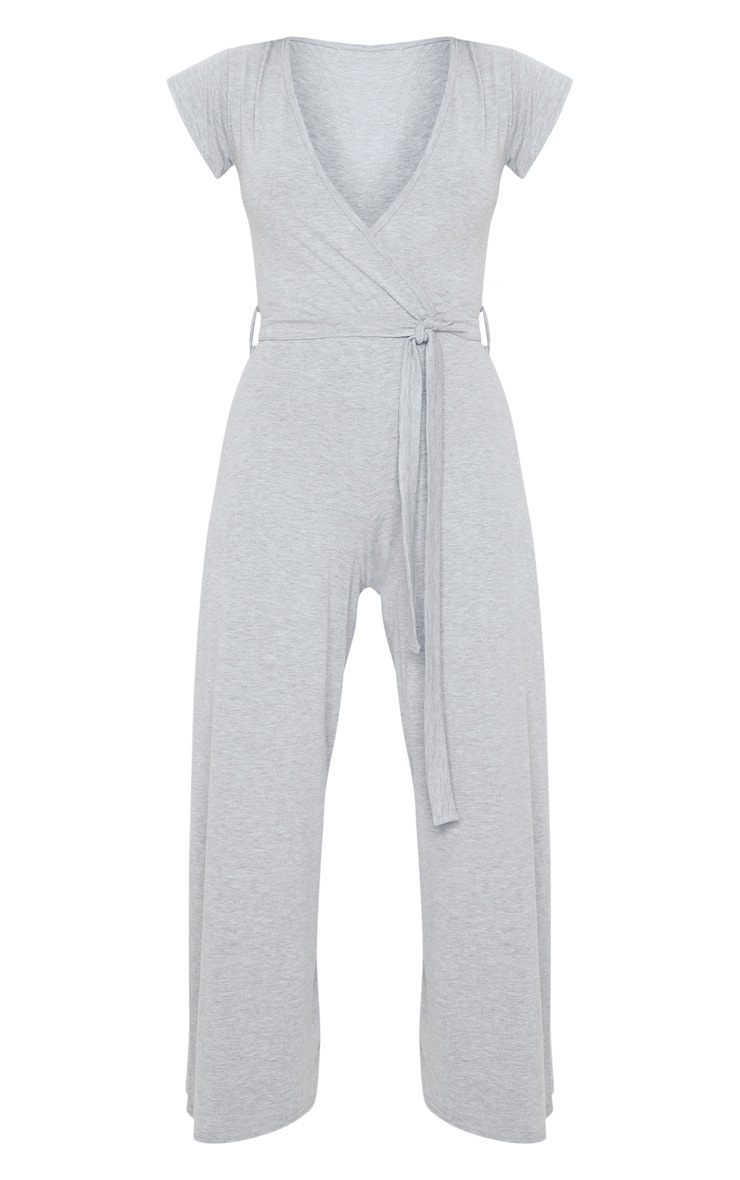 Grey Marl Wrap Culotte Jumpsuit 3