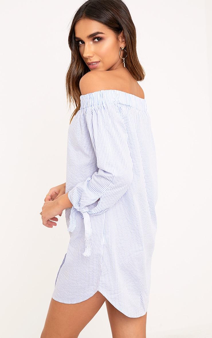 Adaline Blue Striped Button Through Bardot Shift Dress  2
