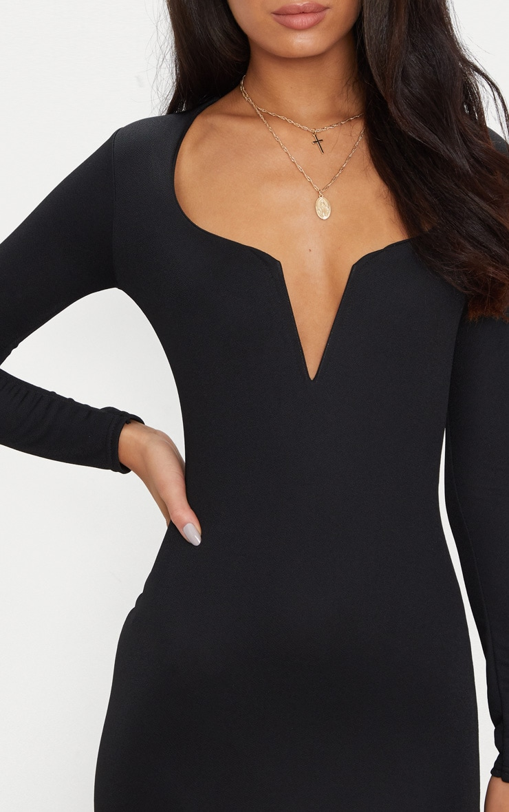 Black Long Sleeve V Bar Plunge Bodycon Dress 5