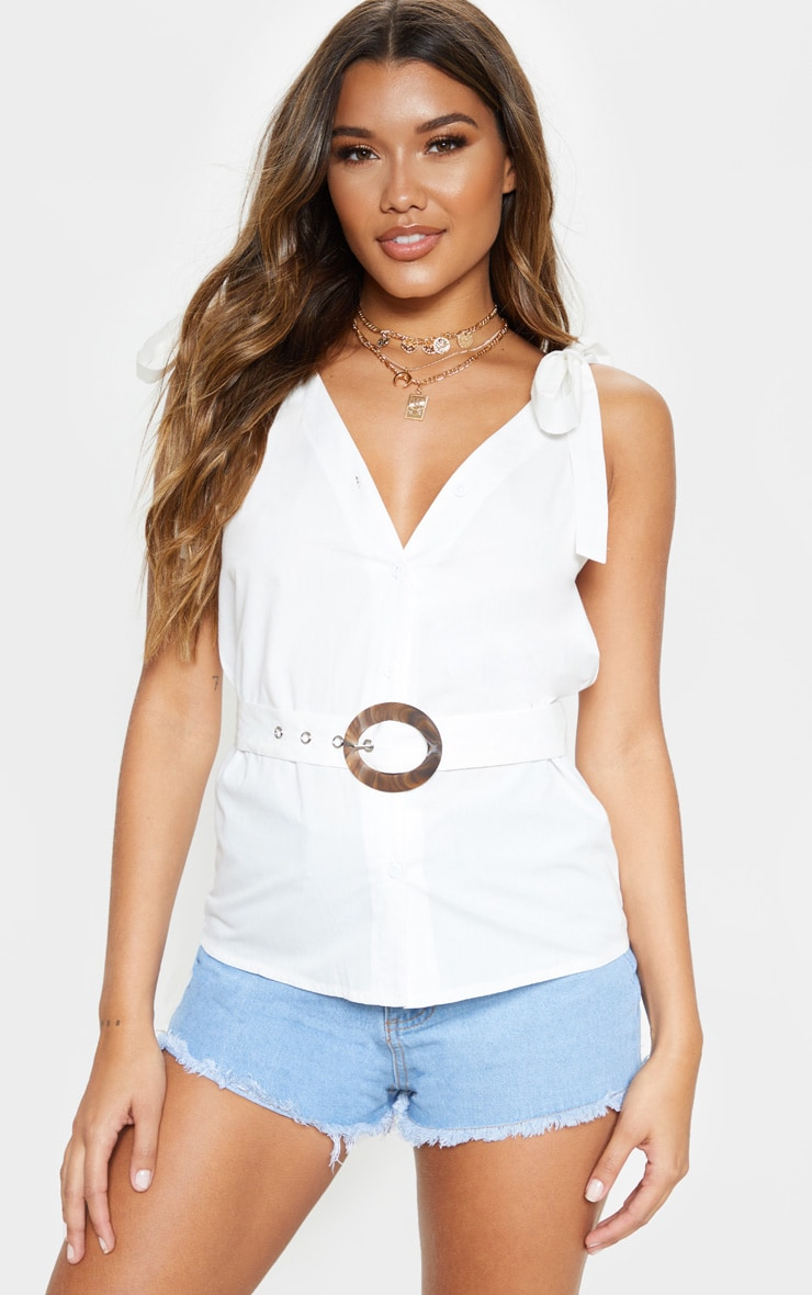 White Sleeveless Belted Button Front Top 1