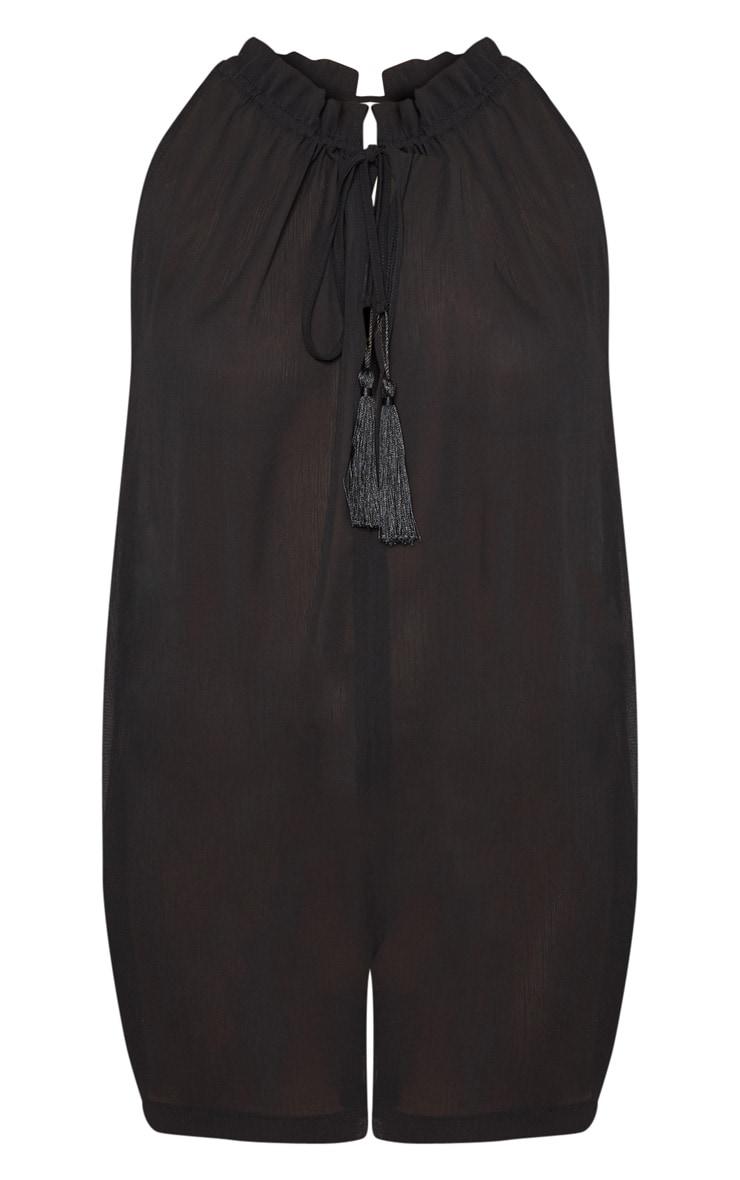 Black Sleeveless Tassel Front Relaxed Playsuit 3