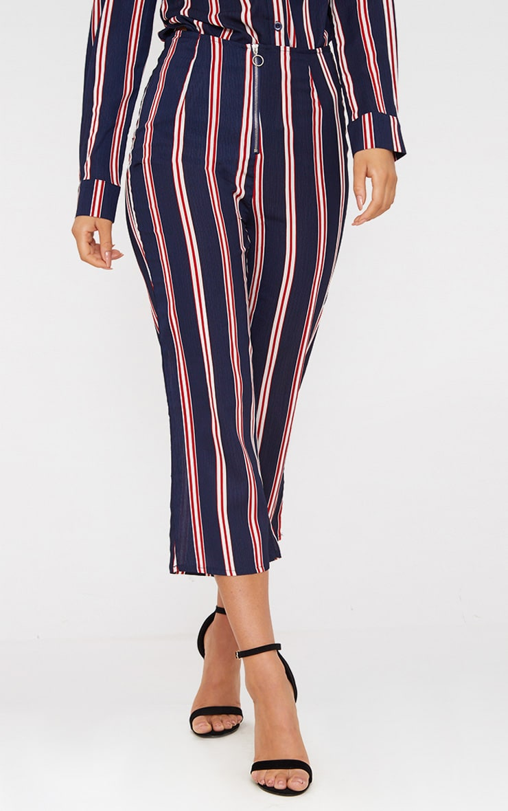 Navy Stripe Ring Zip Cropped Trousers 2