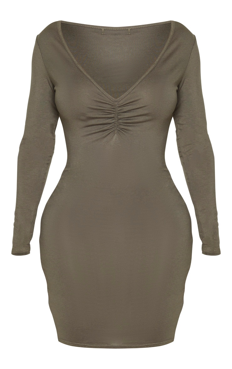 Shape Khaki Jersey Ruched Front Long Sleeve Bodycon Dress 5