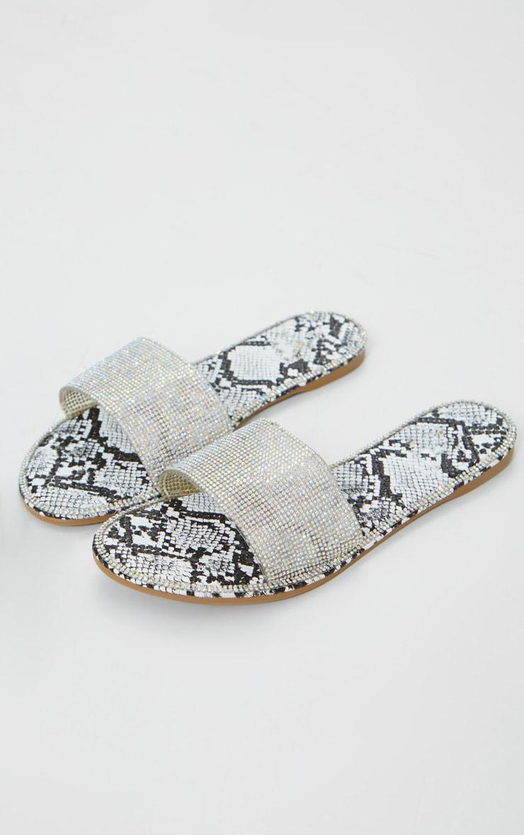 Grey Snake Hot Fix Diamante Clear Sliders 1