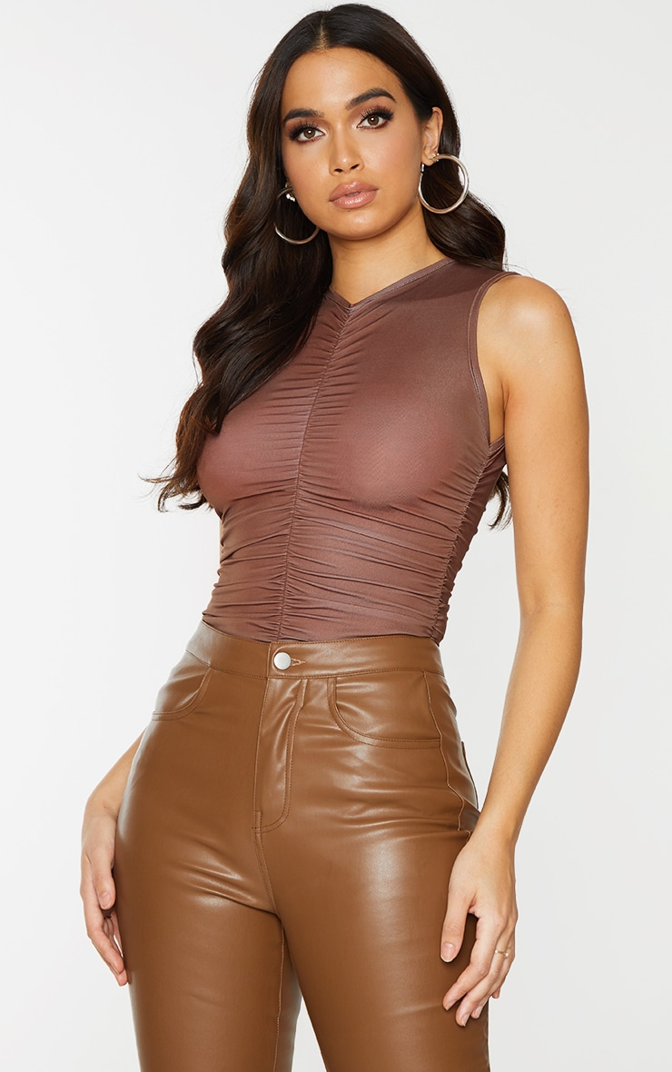 Chocolate Slinky Ruched High Neck Bodysuit 1