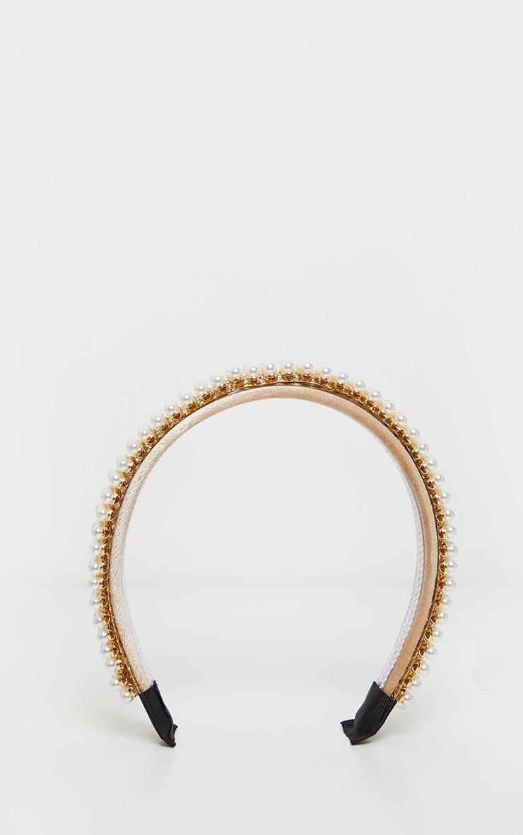 Gold Four Row Pearl Alice Headband 2