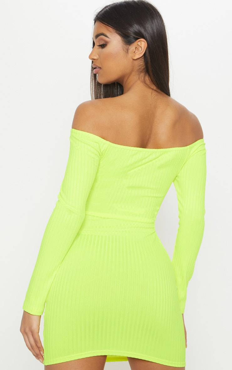 Neon Yellow Ribbed Long Sleeve Square Neck Bodycon Dress 2