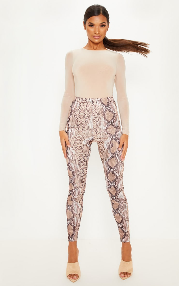 Brown Snakeskin Print Legging 1