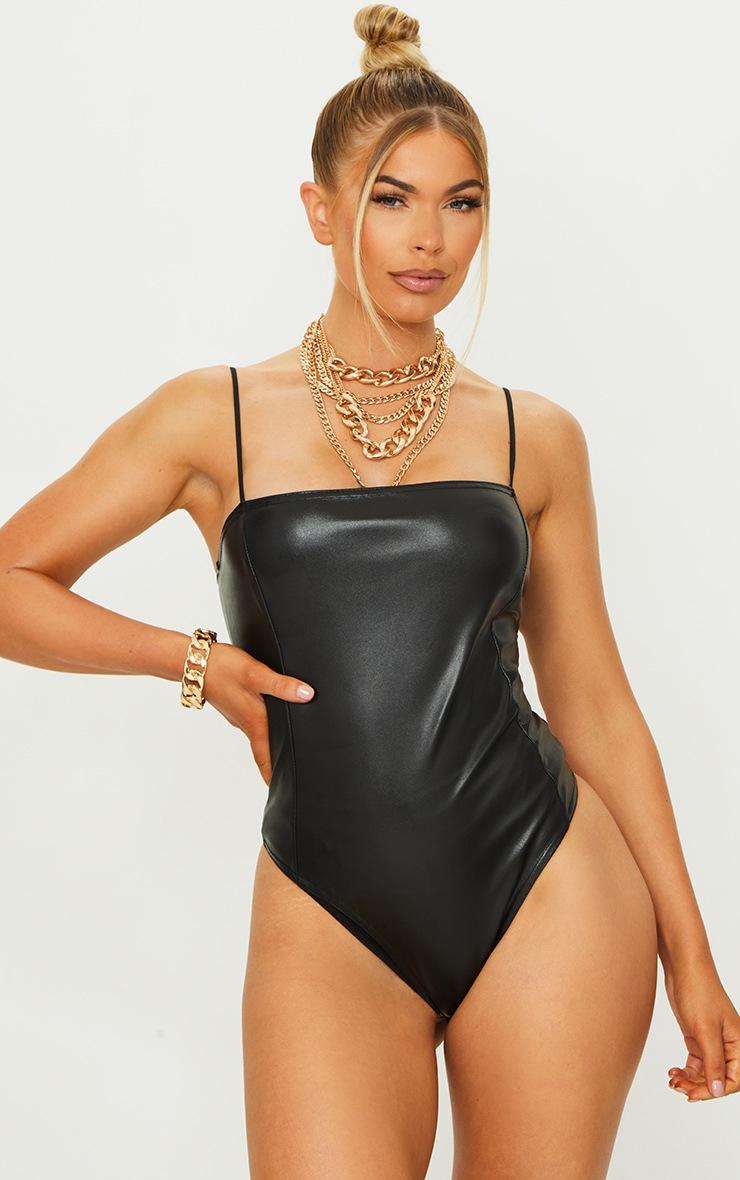 Black PU Strappy Bodysuit 2