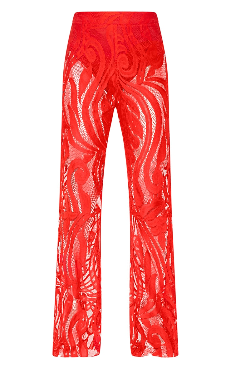 Petite Red Lace Flared Trousers 3