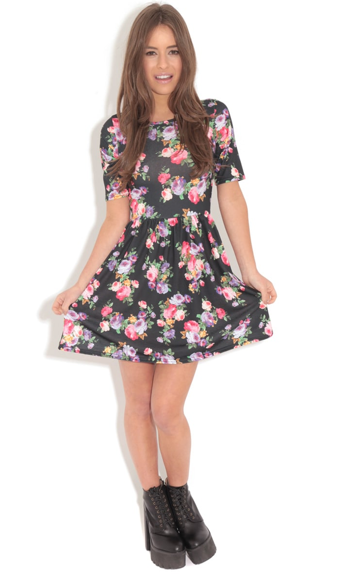 Christie Black Floral Skater Dress  3