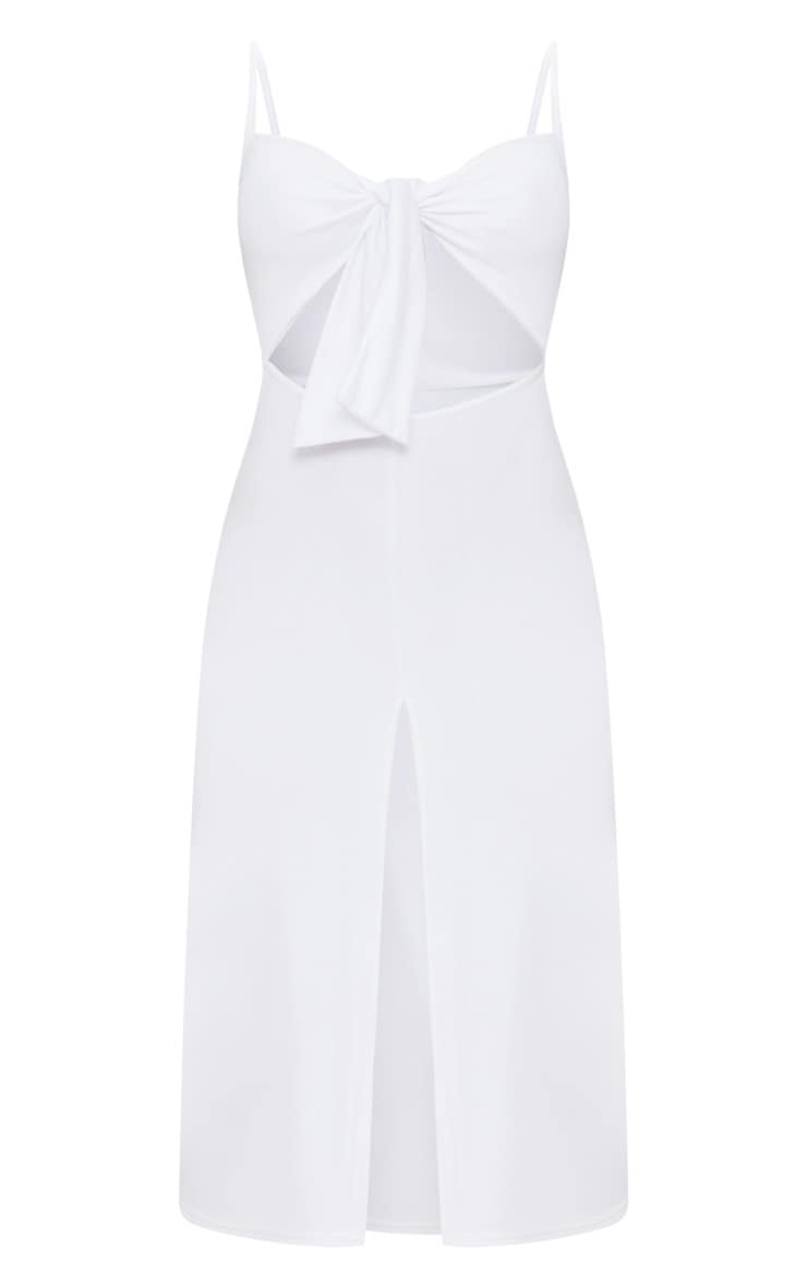 White Tie Front Strappy Swing Dress 3