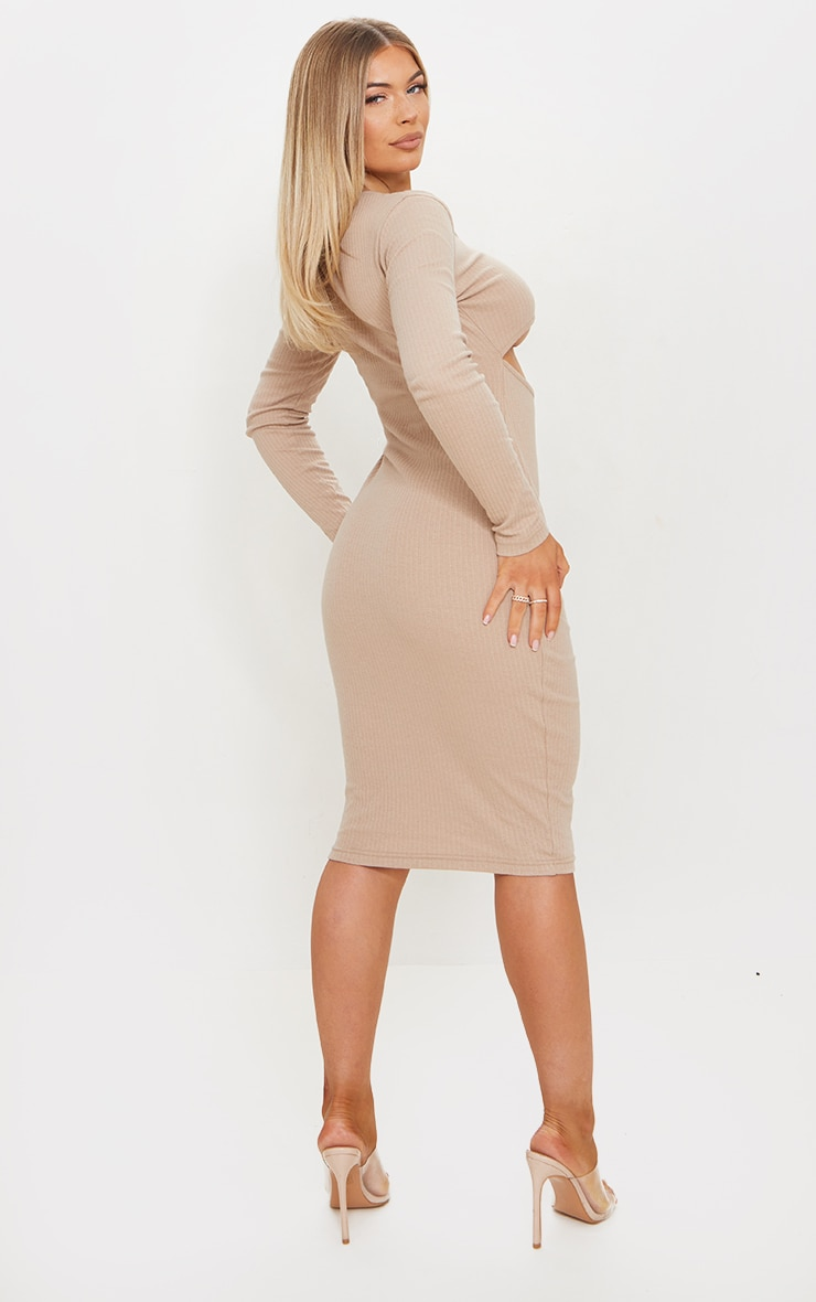 Stone Rib Multi Cut Out Long Sleeve Midi Dress 2