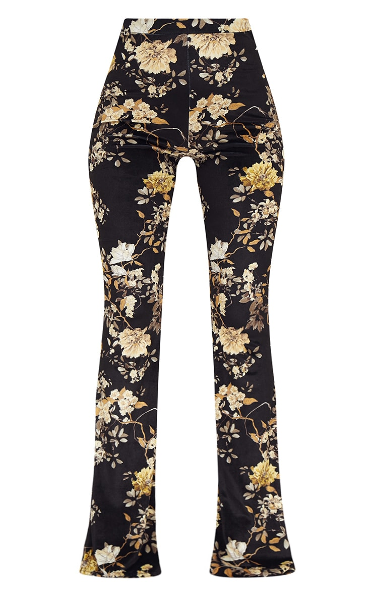 Black Floral Velvet Flared Trousers 3