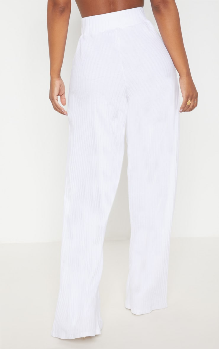 Shape White Ribbed Wide Leg Trousers 4