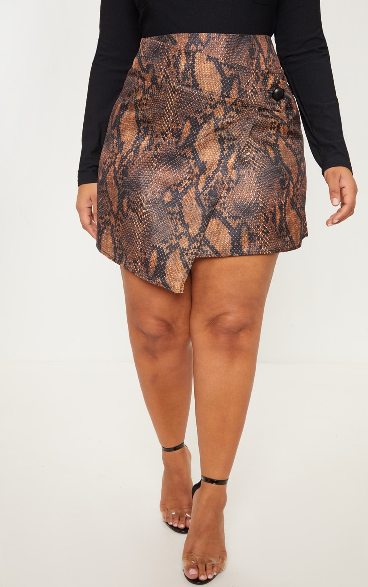Plus Brown Snake Print Button Detail Wrap Mini Skirt 2