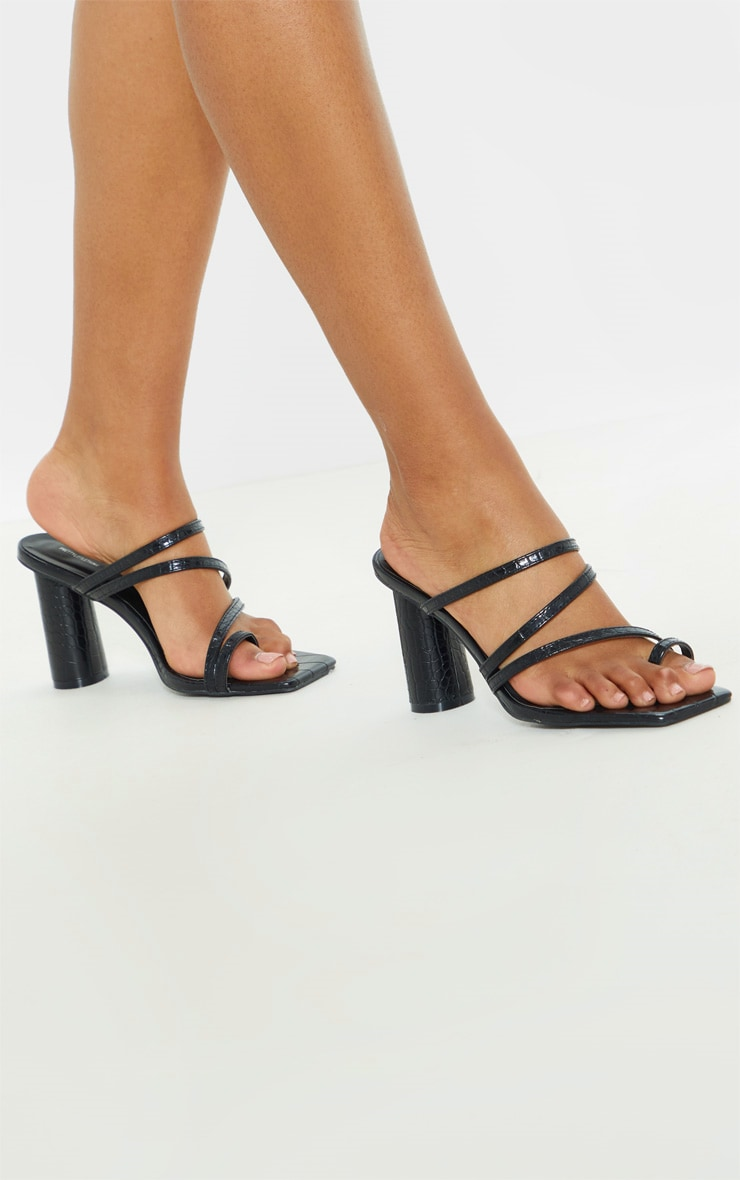 Black Round Block Heel Mule Strappy Sandal 1