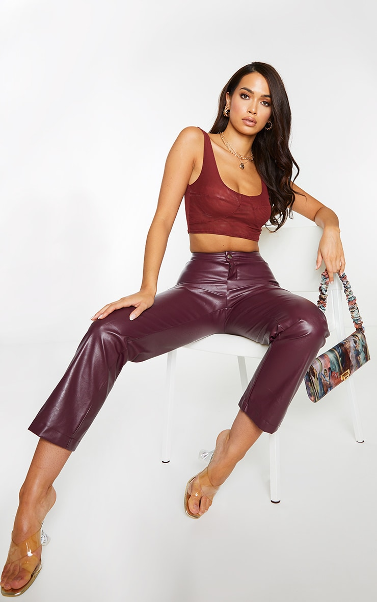 Chocolate Mesh Cupped Crop Top 1