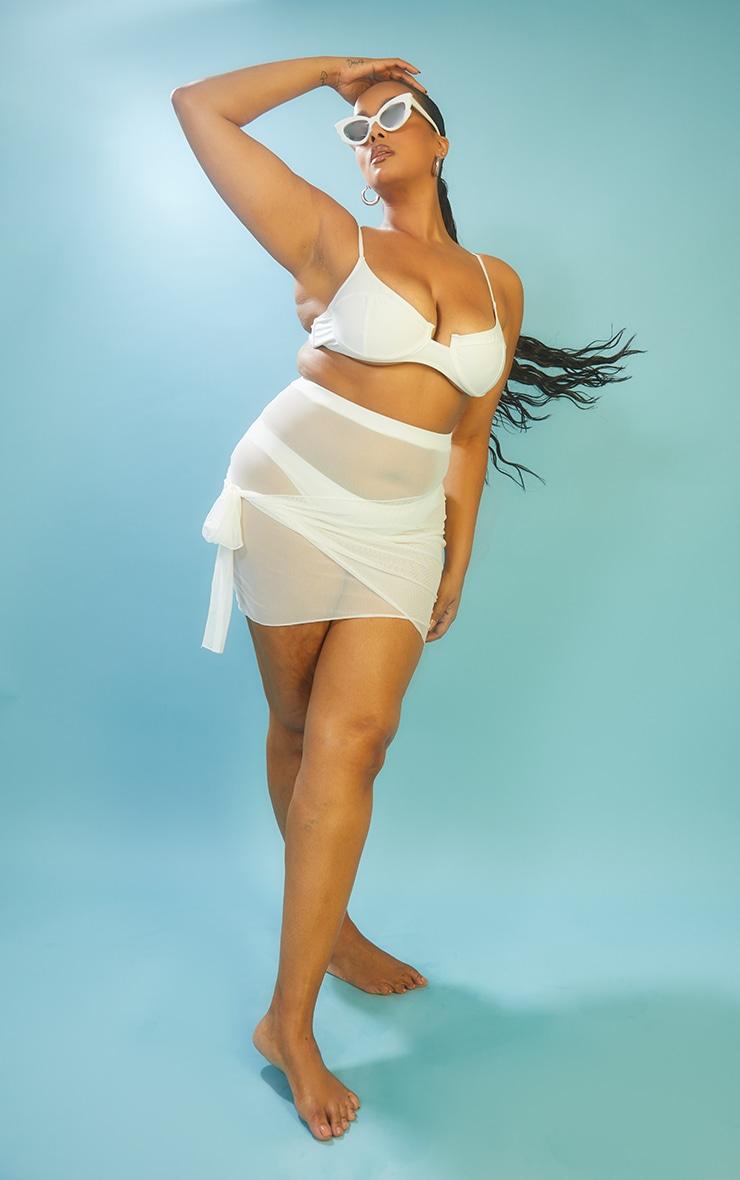 Plus White Mesh Wrap Beach Skirt 1
