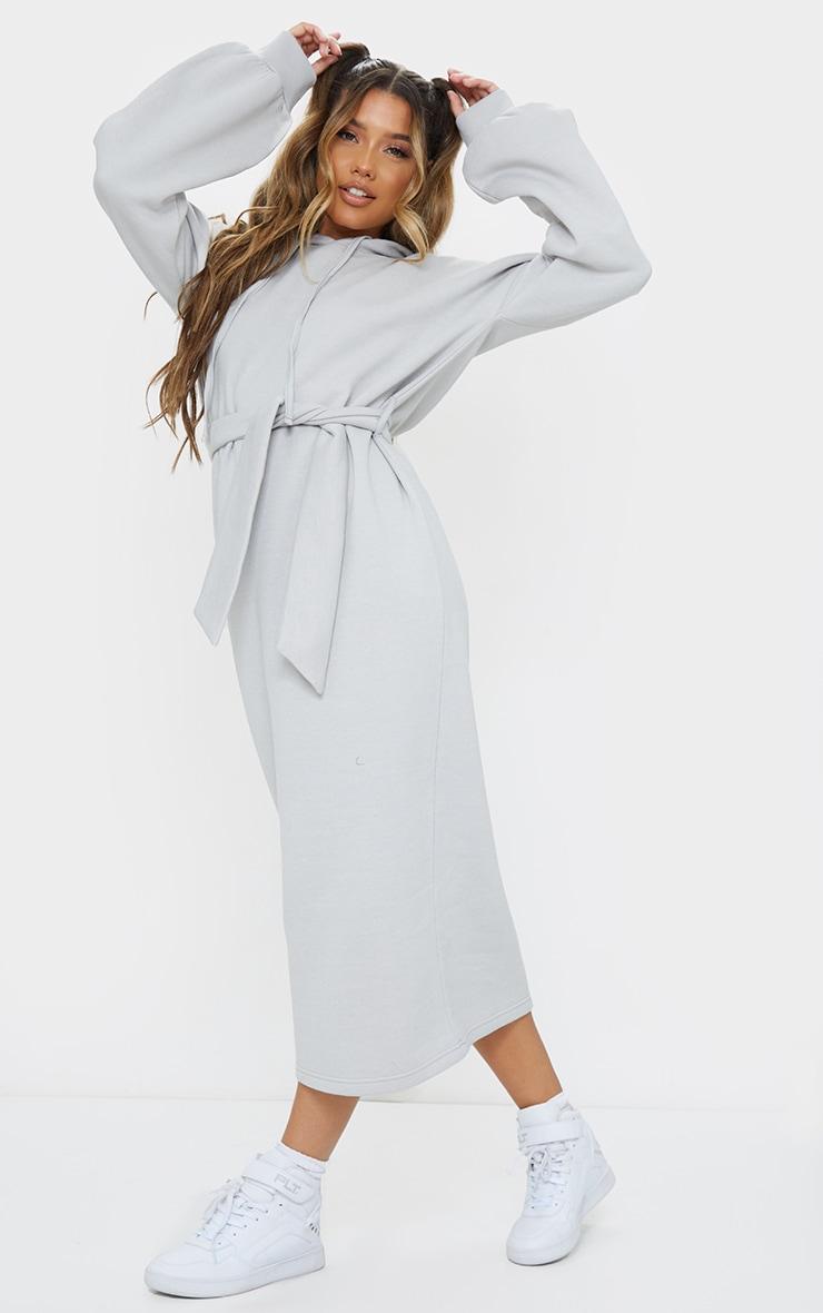 Grey Waist Tie Long Sleeve Midi Sweat Jumper Dress 3