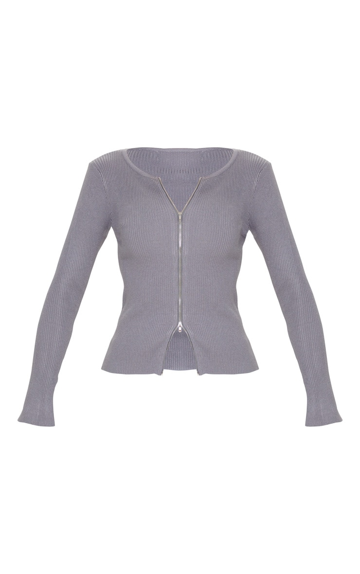 Charcoal Grey Zip Front Knit Top 3