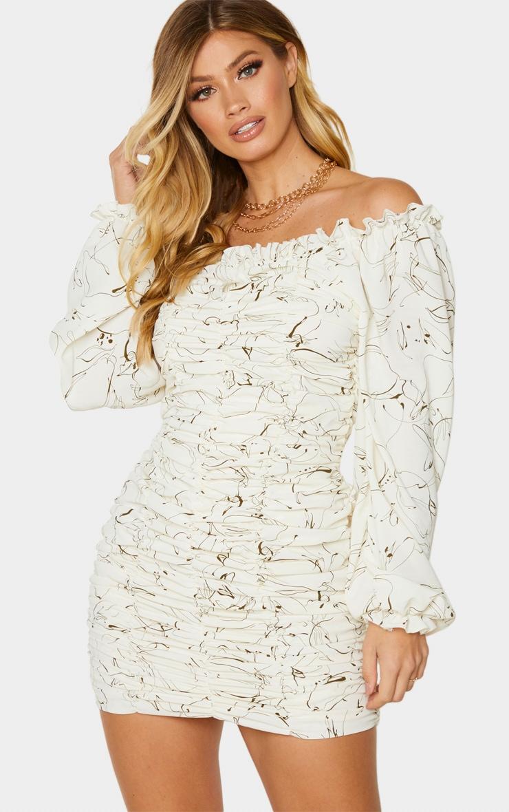 White Scribble Print Balloon Sleeve Bardot Ruched Bodycon Dress 1